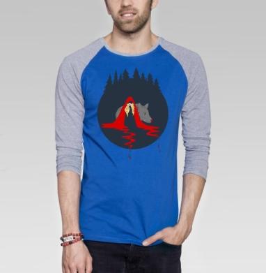 Cute red riding hood - Футболка мужская с длинным рукавом синий / серый меланж, сказки, Популярные