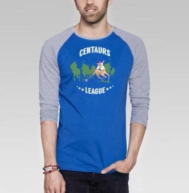 Кентавры играют в Поло - Футболка мужская с длинным рукавом синий / серый меланж, спорт, Популярные