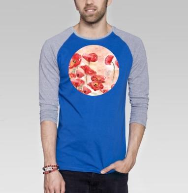 Маки - Футболка мужская с длинным рукавом синий / серый меланж, акварель, Популярные
