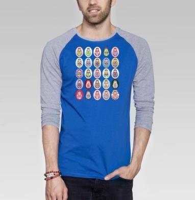 Матрешки - Футболка мужская с длинным рукавом синий / серый меланж, Россия, Популярные