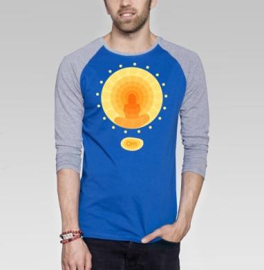 Shiny mandala - Футболка мужская с длинным рукавом синий / серый меланж, солнце, Популярные