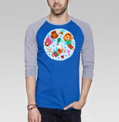 Воздушные звери - Футболка мужская с длинным рукавом синий / серый меланж, насекомые, Популярные