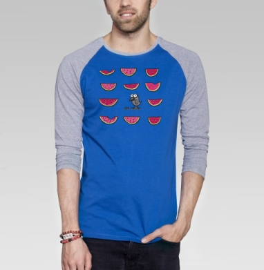 Чик чирик - Футболка мужская с длинным рукавом синий / серый меланж, красота, Популярные