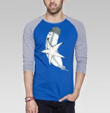 Две стихии - Футболка мужская с длинным рукавом синий / серый меланж, индеец, Популярные