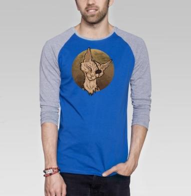 Кот пират - Футболка мужская с длинным рукавом синий / серый меланж, пират, Популярные