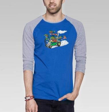 Крокодилы на прогулке - Футболка мужская с длинным рукавом синий / серый меланж, дым, Популярные