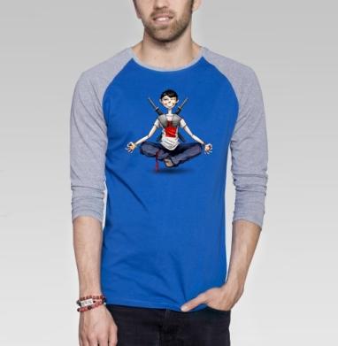 Ninja - Футболка мужская с длинным рукавом синий / серый меланж, улыбка, Популярные