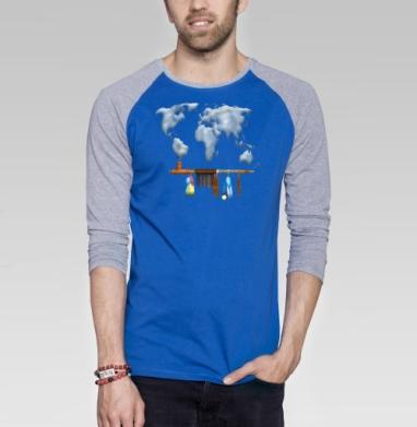 Трубка мира - Футболка мужская с длинным рукавом синий / серый меланж, этно, Популярные