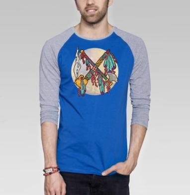 Война и Мир на индейский лад - Футболка мужская с длинным рукавом синий / серый меланж, дым, Популярные