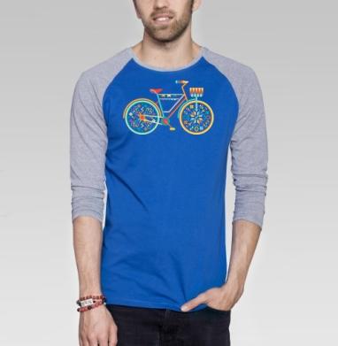 Hippie Bike - Футболка мужская с длинным рукавом синий / серый меланж