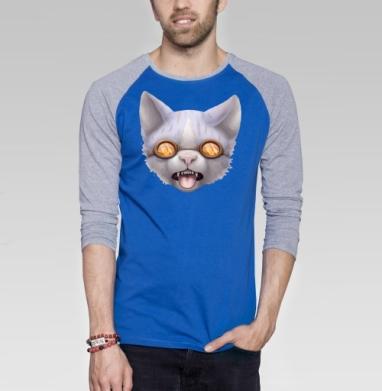 Кот в очках - Футболка мужская с длинным рукавом синий / серый меланж, лицо, Популярные