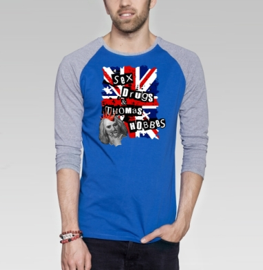 SEX DRUGS THOMAS HOBBES - Футболка мужская с длинным рукавом синий / серый меланж, дым, Популярные
