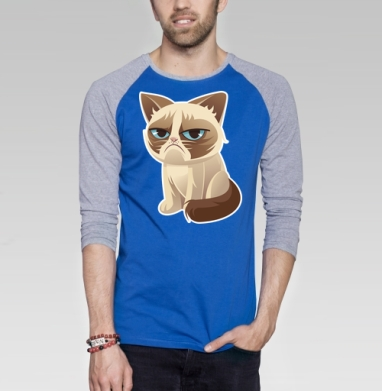 Сурове, грустне, котячне - Футболка мужская с длинным рукавом синий / серый меланж, нежность, Популярные