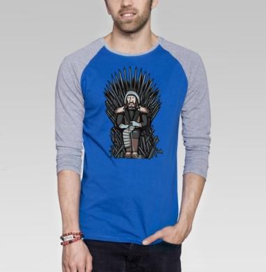 1 - Футболка мужская с длинным рукавом синий / серый меланж, оружие, Популярные
