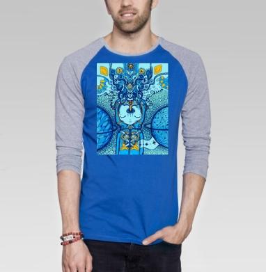 Анахата - Футболка мужская с длинным рукавом синий / серый меланж, йога, Популярные