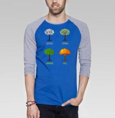 Fall - Футболка мужская с длинным рукавом синий / серый меланж, осень, Популярные
