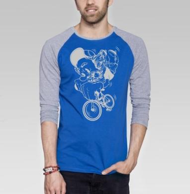 Fixed Gear - Футболка мужская с длинным рукавом синий / серый меланж, велосипед, Популярные