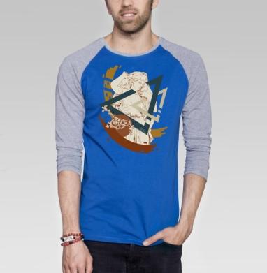 Geometria - Футболка мужская с длинным рукавом синий / серый меланж, геометрия, Популярные