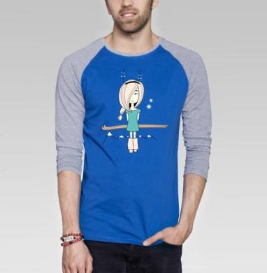 Little surprise - Футболка мужская с длинным рукавом синий / серый меланж, горы, Популярные