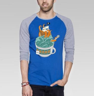 Tea - Футболка мужская с длинным рукавом синий / серый меланж, пират, Популярные
