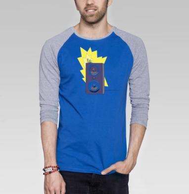 Rock - Футболка мужская с длинным рукавом синий / серый меланж, насекомые, Популярные