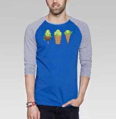Айс крим - Футболка мужская с длинным рукавом синий / серый меланж, мороженое, Популярные