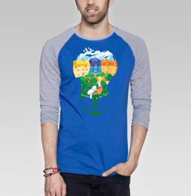 Цветной мир - Футболка мужская с длинным рукавом синий / серый меланж, солнце, Популярные