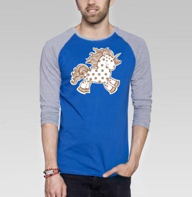 Цветочный единорог - Футболка мужская с длинным рукавом синий / серый меланж, сказки, Популярные