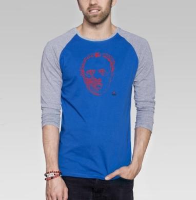 Филантропия - Футболка мужская с длинным рукавом синий / серый меланж, Голова