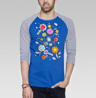 Fruit drop - Футболка мужская с длинным рукавом синий / серый меланж, сладости, Популярные