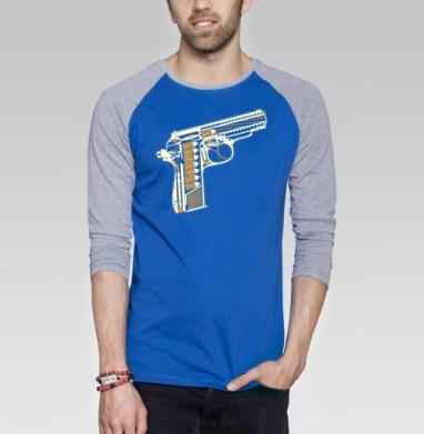Gun - Футболка мужская с длинным рукавом синий / серый меланж, оружие, Популярные