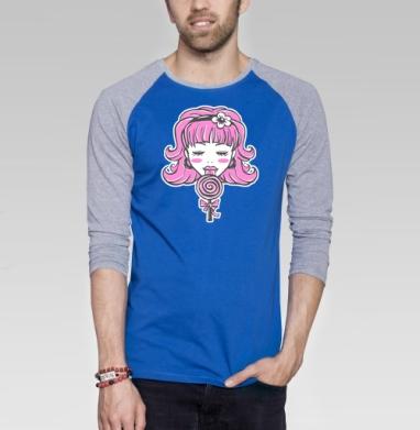 Hard Candy - Футболка мужская с длинным рукавом синий / серый меланж, сладости, Популярные