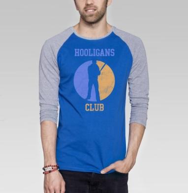 Hooligans club - Футболка мужская с длинным рукавом синий / серый меланж, спорт, Популярные