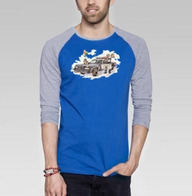 Karma Police - Футболка мужская с длинным рукавом синий / серый меланж, мужские, Популярные