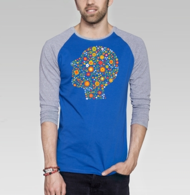 Клумба - Футболка мужская с длинным рукавом синий / серый меланж, Голова