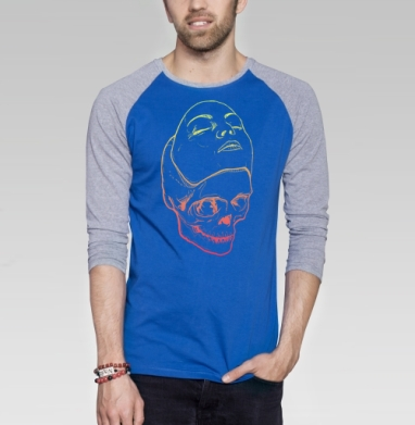 Маска и череп - Футболка мужская с длинным рукавом синий / серый меланж, голова, Популярные