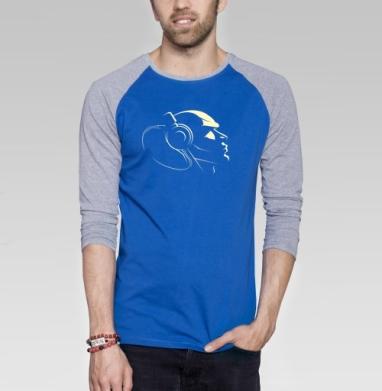 Мюзик - Футболка мужская с длинным рукавом синий / серый меланж, голова, Популярные