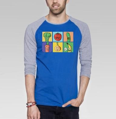Друзья вегана - Футболка мужская с длинным рукавом синий / серый меланж, фрукты, Популярные