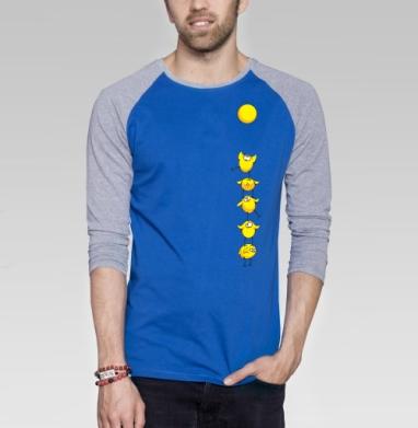 Почти яичница:) - Футболка мужская с длинным рукавом синий / серый меланж, солнце, Популярные