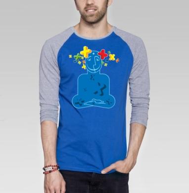 Позитивизация - Футболка мужская с длинным рукавом синий / серый меланж, йога, Популярные