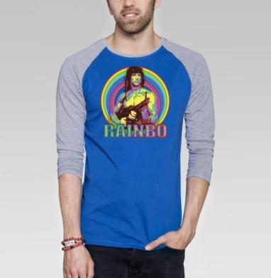 RAINBO - Футболка мужская с длинным рукавом синий / серый меланж, оружие, Популярные