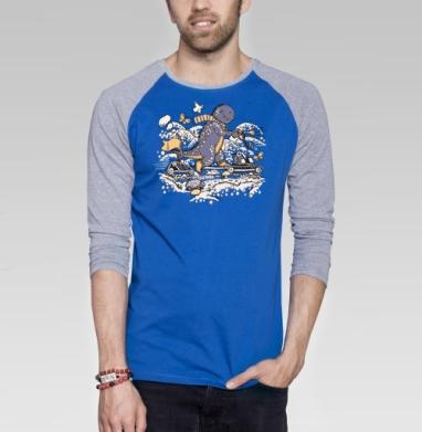 Самокат - Футболка мужская с длинным рукавом синий / серый меланж, Бабочки