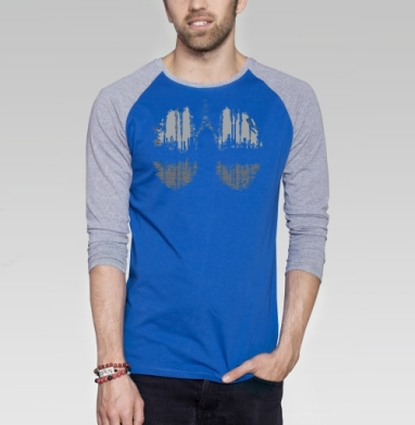 Тяжёлая промышленность - Футболка мужская с длинным рукавом синий / серый меланж, город, Популярные