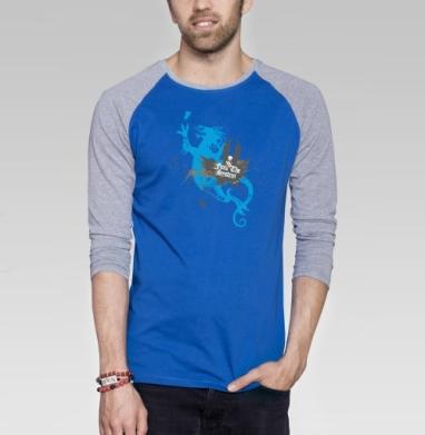 Dragon love - Футболка мужская с длинным рукавом синий / серый меланж, бабочки, Популярные