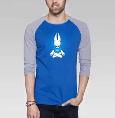 MJRabbit - Футболка мужская с длинным рукавом синий / серый меланж, дым, Популярные