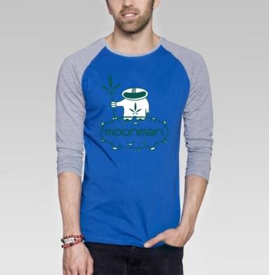 Moonman - Футболка мужская с длинным рукавом синий / серый меланж, космос, Популярные