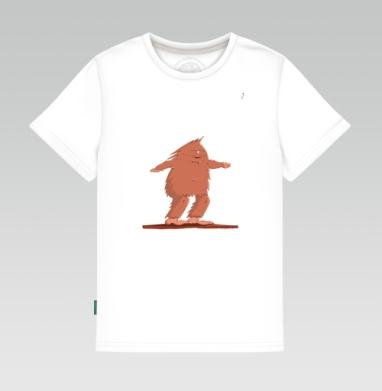 Детская футболка белая - Сноубордист Каменного века