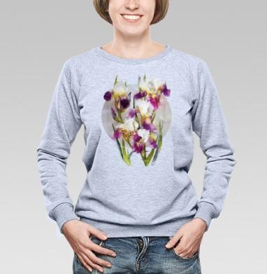 Нежные ирисы - Купить женские свитшоты с природой в Москве, цена женских свитшотов с природой  с прикольными принтами - магазин дизайнерской одежды MaryJane