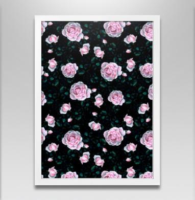 Ноктюрн - Постер в белой раме, розы