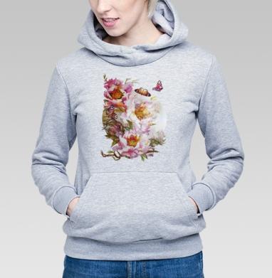 Пионы и бабочки - Купить детские толстовки с живописью в Москве, цена детских толстовок с живописью  с прикольными принтами - магазин дизайнерской одежды MaryJane